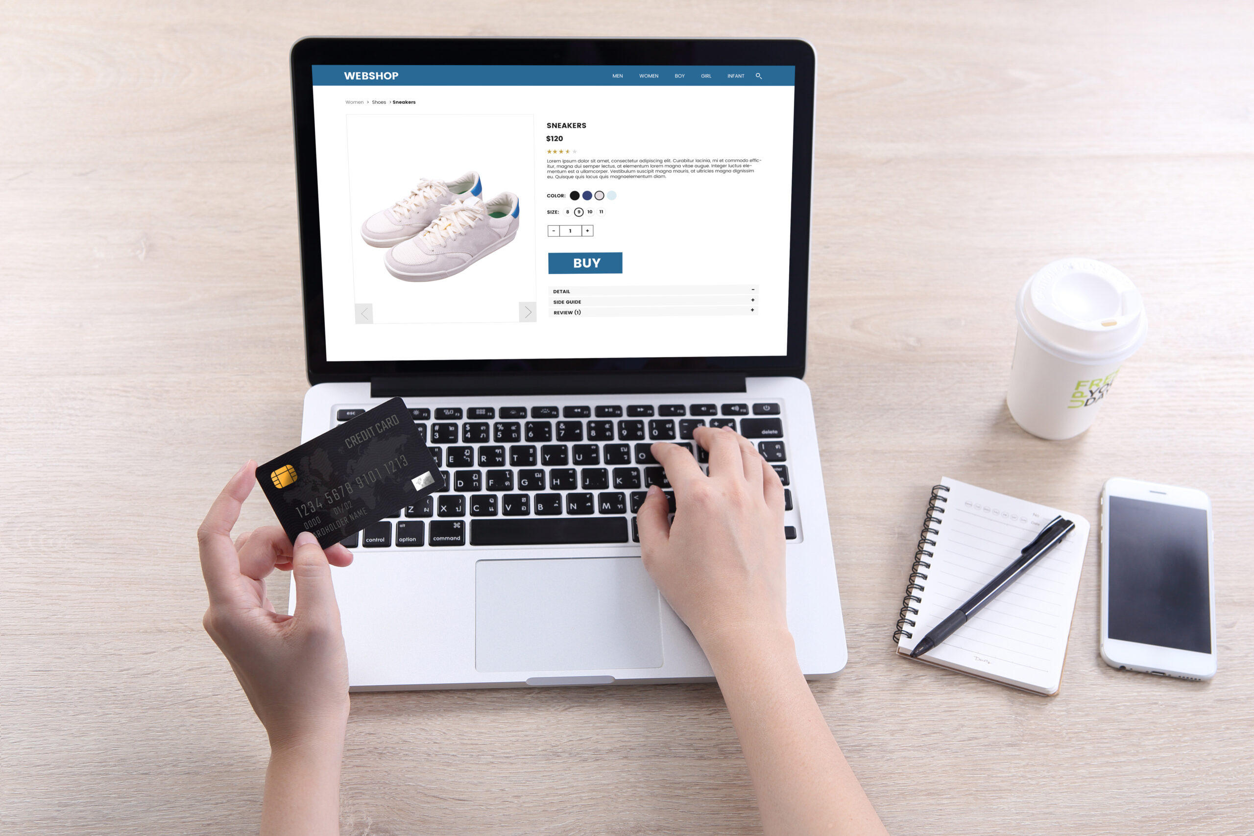 Woman,Use,Ecommerce,Webshop,For,Buy,Shoes,With,Holding,Credit